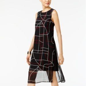 Alfani Elegant Lines Printed A-Line Dress